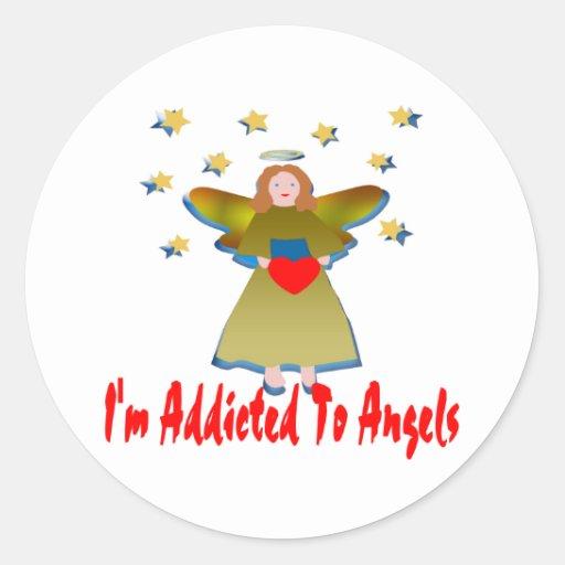 Enviciado a los ángeles pegatinas redondas