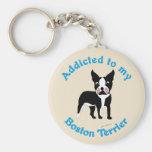 Enviciado a mi Boston Terrier Llaveros Personalizados