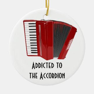 Enviciado al acordeón adorno navideño redondo de cerámica