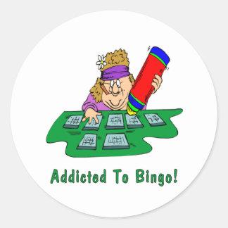 ¡Enviciado al bingo! Pegatina Redonda