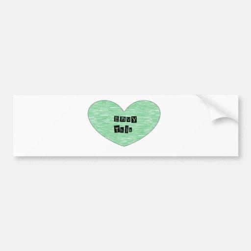 Envidia verde este corazón pegatina para auto