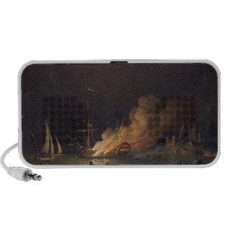 Envíe en el fuego en la noche, c.1756 (el aceite e portátil altavoz