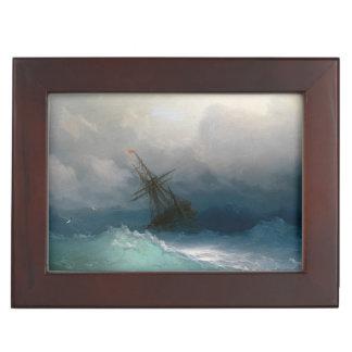 Envíe en tormenta tempestuosa del paisaje marino d cajas de recuerdos