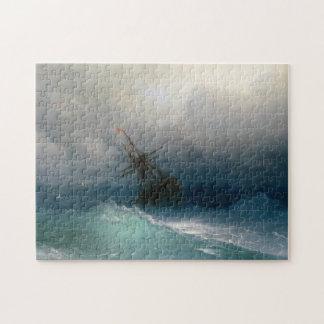 Envíe en tormenta tempestuosa del paisaje marino d puzzle