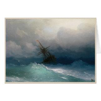 Envíe en tormenta tempestuosa del paisaje marino tarjeta pequeña
