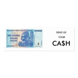 Envíenos su señal del efectivo plantillas de tarjeta de negocio