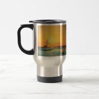 Envío americano de Ivan Aivazovsky- de la roca Taza De Café