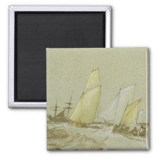 Envío, c.1828-30 (pluma, cepillo y tinta marrón, b imanes