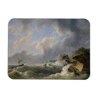 Envío de una costa costa en un mar agitado (aceite imán rectangular