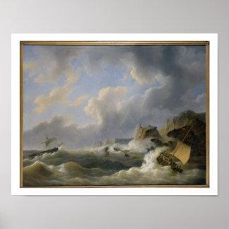 Envío de una costa costa en un mar agitado (aceite póster