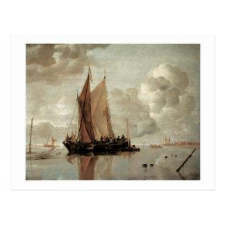 Envío en aguas tranquilas de un estuario tarjeta postal