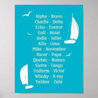 Envío internacional de los barcos del alfabeto póster
