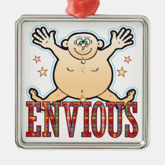Envious Fat Man Metal Ornament