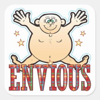Envious Fat Man Square Sticker