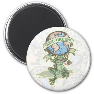 Enviro Frog Gone Green Earthday Gear 2 Inch Round Magnet