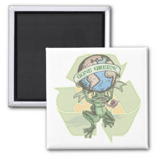 Enviro Frog Gone Green Earthday Gear 2 Inch Square Magnet