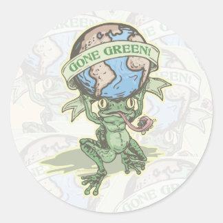Enviro Frog Gone Green Earthday Gear Classic Round Sticker