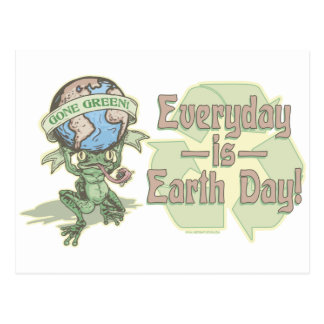 Enviro Frog Gone Green Earthday Gear Postcard