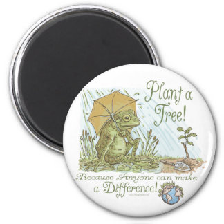 Enviro Frog Plant a Tree  Earth Day Gear 2 Inch Round Magnet