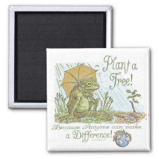 Enviro Frog Plant a Tree  Earth Day Gear 2 Inch Square Magnet