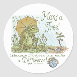 Enviro Frog Plant a Tree  Earth Day Gear Classic Round Sticker