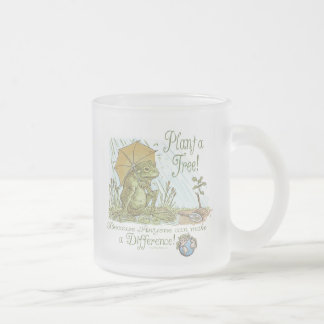 Enviro Frog Plant a Tree  Earth Day Gear Frosted Glass Coffee Mug
