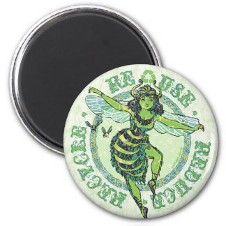 Enviro Green Bee Earth Day Gear 2 Inch Round Magnet