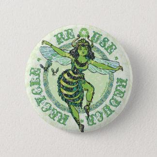 Enviro Green Bee Earth Day Gear Button