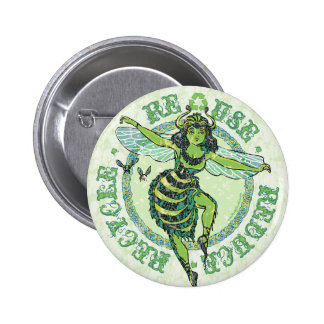 Enviro Green Bee Earth Day Gear Button