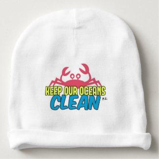 Environment Keep Our Oceans Clean Slogan Baby Beanie