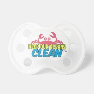 Environment Keep Our Oceans Clean Slogan Pacifier