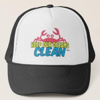 Environment Keep Our Oceans Clean Slogan Trucker Hat