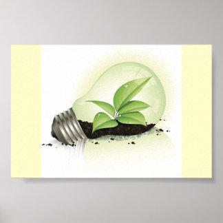 Environment Lightbulb greens plants soil causes en Poster