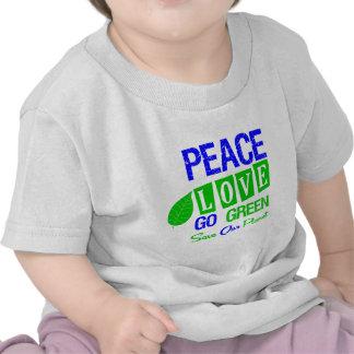 Environment Peace Love Go Green v2 Tshirts