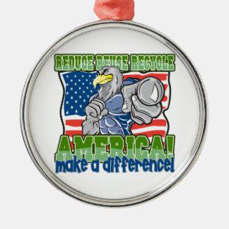 Environmental America Round Metal Christmas Ornament