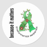 Environmental Awareness Flower Ribbon 3 Round Stickers