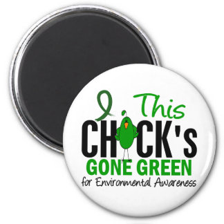 ENVIRONMENTAL Chick Gone Green 2 Inch Round Magnet