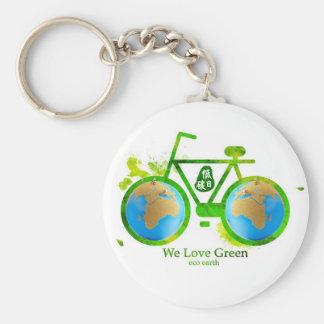 Environmental eco-friendly green bike key chain
