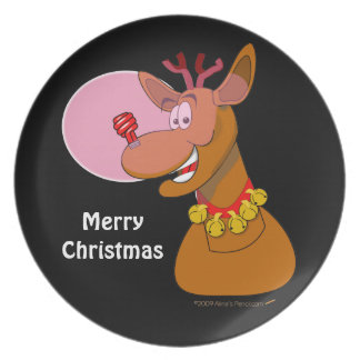 Environmental Funny Reindeer Xmas Custom Melamine Plate