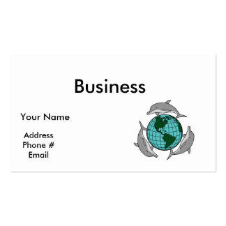 environmental globe and dolphins design business cards