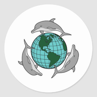 environmental globe and dolphins design classic round sticker