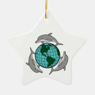 environmental globe and dolphins design Double-Sided star ceramic christmas ornament