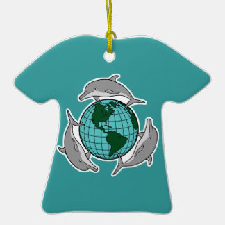 environmental globe and dolphins design Double-Sided T-Shirt ceramic christmas ornament