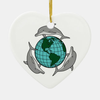environmental globe and dolphins design Double-Sided heart ceramic christmas ornament