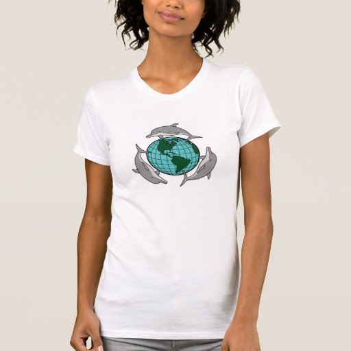 environmental globe and dolphins design tees