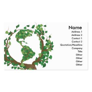 Environmental globe world tree business card