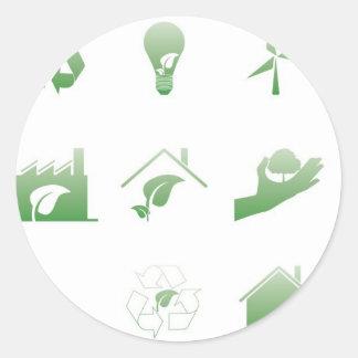 environmental icons 4 classic round sticker