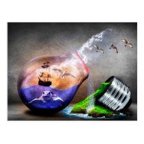 Environmental Protection Sea Turtle & Ship Picture Postcard