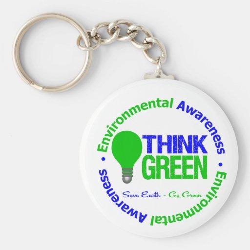 Environmental THINK GREEN Bulb Basic Round Button Keychain