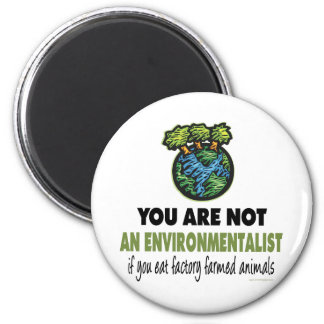 Environmentalist = Vegan, Vegetarian 2 Inch Round Magnet